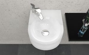 Umývadlo keramické CURB na stenu, oblé