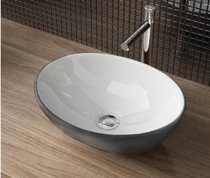 Umývadlo keramické SOFIA na dosku, bielo-strieborné