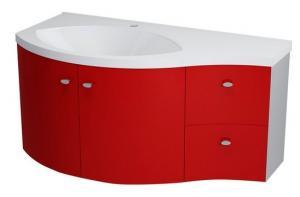 Umývadlová skrinka AILA  110 x 39 cm, červeno-strieborná - Lavá