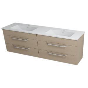 Umývadlová skrinka s umývadlom KALI, 150x50x46cm, dub, zásuvková