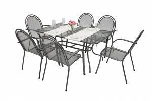 Unikov Záhradná kovová zostava CORINA III. 1+6 Stôl obdĺžníkový 145x90 cm