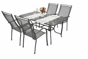 Unikov Záhradná kovová zostava ELTON I. 1+4 Stôl obdĺžník 160x95 cm