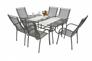 Unikov Záhradná kovová zostava ELTON I. 1+6 Stôl obdĺžník 145x90 cm
