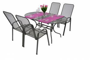 Unikov Záhradná kovová zostava OLIVIE 1+4 Stôl oválný 190x105 cm