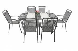 Unikov Záhradná kovová zostava SAVANA I. 1+6 Stôl obdĺžnikový 145x90 cm