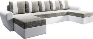 Univerzálna sedacia súprava, biela/sivohnedá, LUNY ROH U