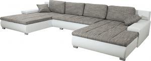 Univerzálna sedacia súprava, ekokoža biela/látka sivý melír, TONIKS U UNI