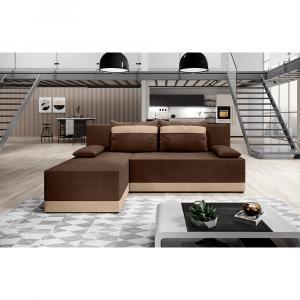 Univerzálna sedacia súprava, hnedá/béžová, ROMAND