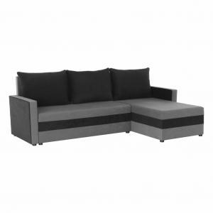 Univerzálna sedacia súprava, sivá/čierna, PAULITA
