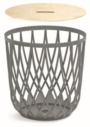 Univerzální koš QUBO s dřevěným víkem šedý kámen