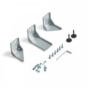 Upevňovacie svorky pre vystužené stolové paravány Zip, 3 ks, strieborné