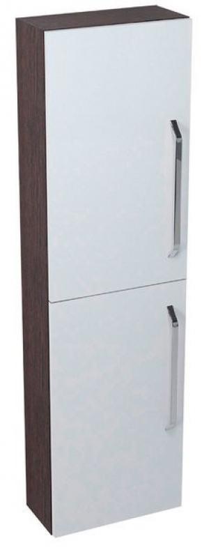 Úzka vysoká skrinka KALI, 40x140x20cm, biela-wenge - Pravá