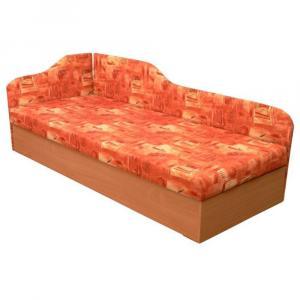 Váľanda s pružinovým matracom, ľavá, oranžová/vzor, EDVIN 4.2
