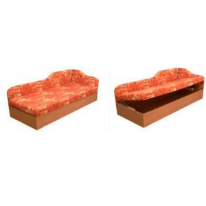 Váľanda s pružinovým matracom, pravá, oranžová/vzor, EDVIN 4.2