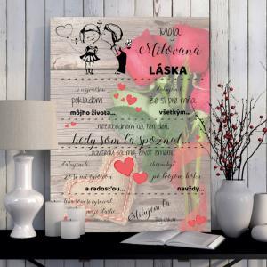 Darček na Valentína - Osobná Valentínka pre ženu vášho života - tabuľka