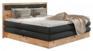 Valnatura POSTEĽ BOXSPRING, 180/200 cm, drevo, textil, kompozitné drevo, antracitová, farby dubu - antracitová, farby dubu