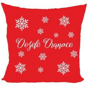 Vankúš Veselé Vianoce - vločky (Veľkosť: 55 x 55 cm)