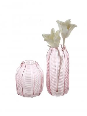 Váza sklenená Organic, 25 cm, ružová