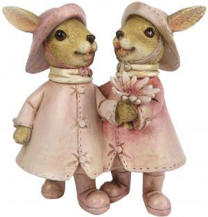 Veľkonočné dekorácie králičích slečien v pršiplášť - 13 * 8 * 13 cm