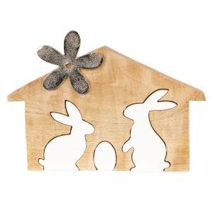 Veľkonočné dekorácie z dreva Králiky v domčeku - 18 * 11 * 2 cm
