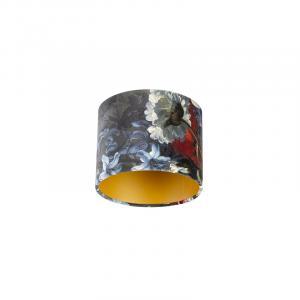 Velúrové tienidlo s kvetinovým dizajnom 18/18/14 zlata vo vnútri