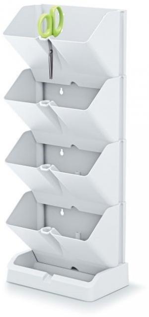 Vertikální květináč na bylinky MINI CASCADE + nůžky bílý
