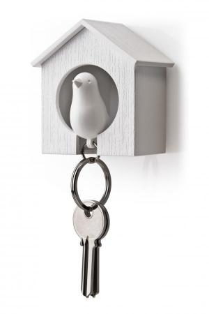 Vešiačik na kľúče Qualy Sparrow, biela búdka / biely vtáčik