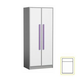 Vešiaková skriňa, biela/sivá/fialová, PIERE P01
