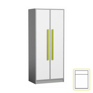 Vešiaková skriňa, biela/sivá/zelená, PIERE P01