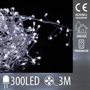 Vianočná LED svetelná mikro reťaz CLUSTER vonkajšia + programator - 300LED - 3M Studená Biela