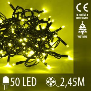 Vianočná LED svetelná reťaz vnútorná - 50LED - 2,45M Žltá