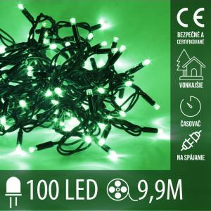 Vianočná LED svetelná reťaz vonkajšia na spájanie s časovačom - 100LED - 9,90M Zelená