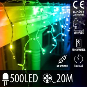 Vianočná LED svetelná záclona na spájanie vonkajšia - programy - časovač + diaľkový ovládač - 500LED - 20M Multicolour