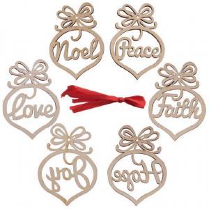 Vianočné drevená dekorácia 6 ks