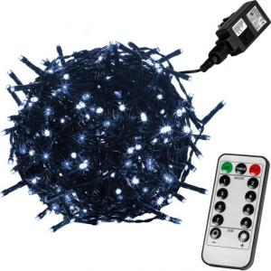 Vianočné LED osvetlenie 10 m - studená biela 100 LED + ovládač - zelený kábel