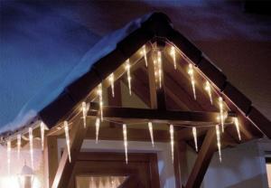 Vianočné osvetlenie - cencúle - studená biela, 8 svetelných funkcií
