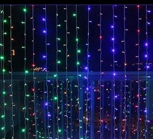 Vianočné osvetlenie-svetelný záves-3x3m-farebná 300 LED