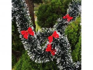 Vianočný reťaz s mašľami - 2 farby Farba: červená