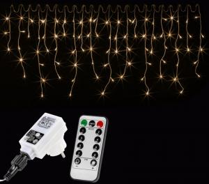 Vianočný svetelný dážď 200 LED teplá biela - 5 m + ovládač