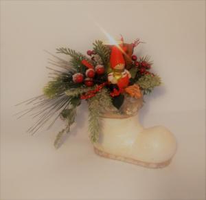 vianočný svietnik čižma 22 x 21 cm