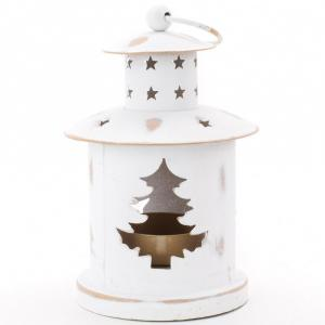 Vianočný svietnik Domček, biely flor1447