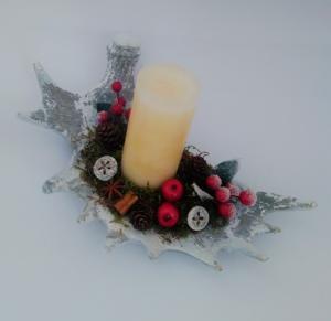 vianočný svietnik paroh 16 x 12 cm