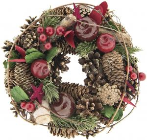 Vianočný veniec so šiškami III - Ø 25*8 cm