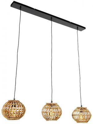 Vidiecka závesná lampa bambusová 3-svetlá - Canna