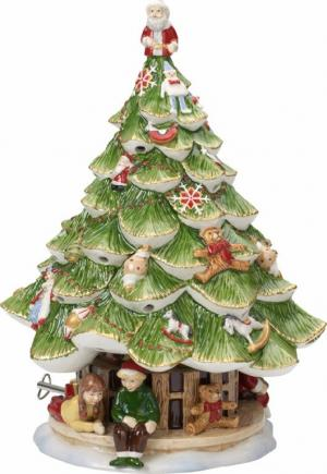Villeroy & Boch Christmas Toys Memory hracia skrinka / svietnik, vianočný stromček s deťmi, 30 cm