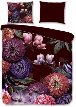 Vínovočervené obliečky na dvojlôžko z organickej bavlny Descanso Gerbera, 200 x 200 cm