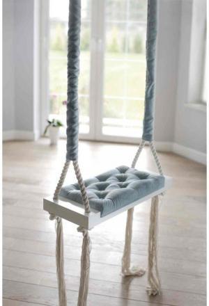 Vintage drevená hojdačka - modrá