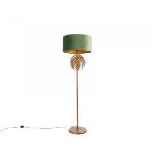 Vintage stojaca lampa zlatá s velúrovým odtieňom zelenej - Botanica
