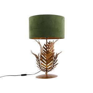 Vintage stolná lampa zlatá s velúrovým odtieňom zelenej 35 cm - Botanica