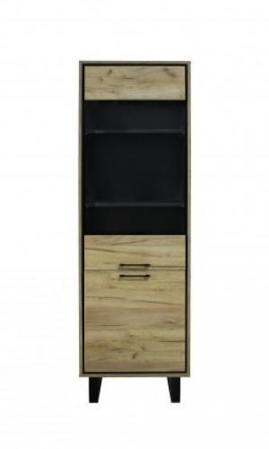 Vitrína Brick (1 zásuvka, dvierka, dub, čierna)